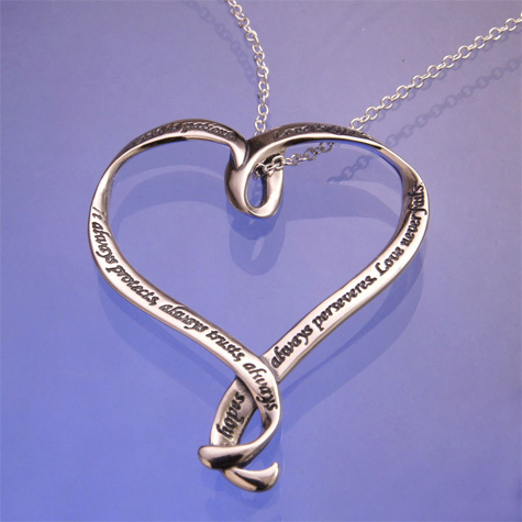 16d5c268cb2 Love is Patient - Heart Shape Sterling Silver Necklace