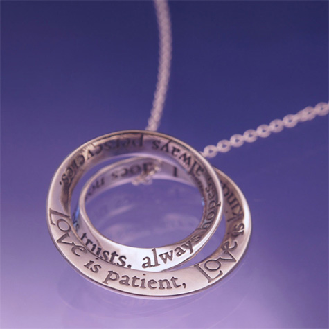 Poesy pendant jewelry love is patient mobius sterling silver necklace mozeypictures Image collections