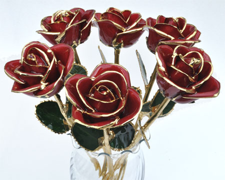 Half Dozen Glazed Real Roses in Vase