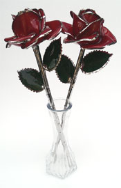 Pair of Bloom Glazed Roses