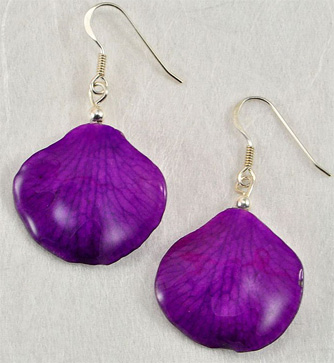 Real Preserved Orchid Petal Earrings