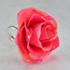 Preserved Real Pink Rose Ring