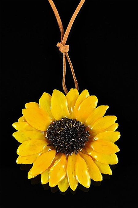 Real Sunflower Preserved Pendant