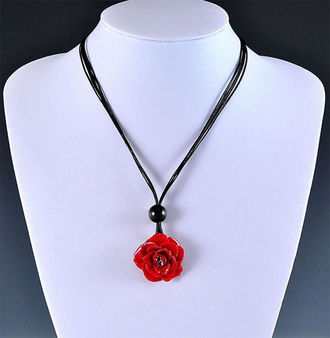 Real Small Rose Preserved Pendant