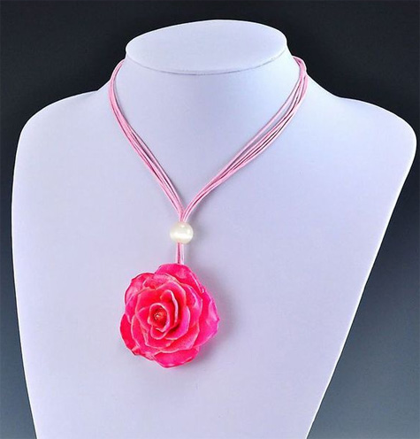 Real Pink Rose Necklace