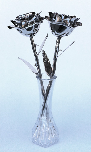 Pair of White Gold Dipped Real Roses in Vase